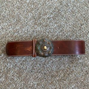 Brown belt with circle buckle